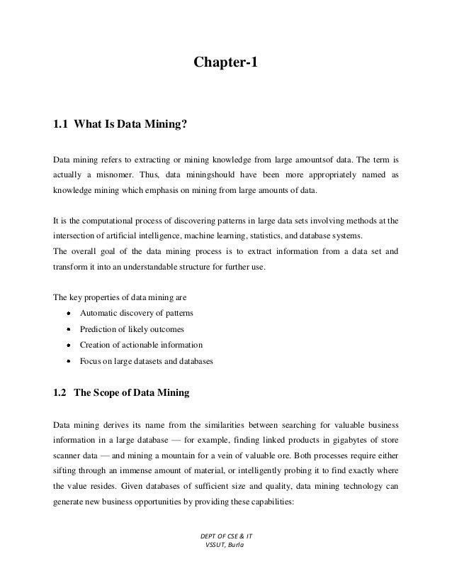 Data Mining & Data Warehousing Lecture Notes