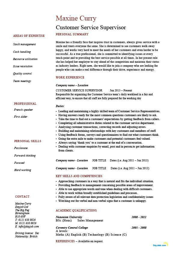 Customer service supervisor resume, managing people, professional ...