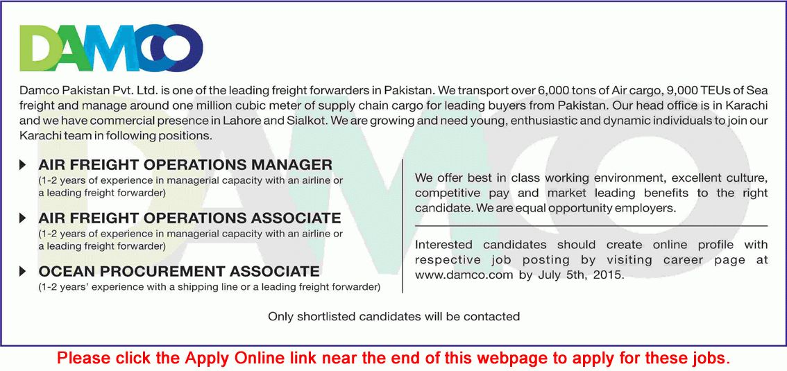 DAMCO Pakistan Jobs 2015 June / July Apply Online Air Freight ...