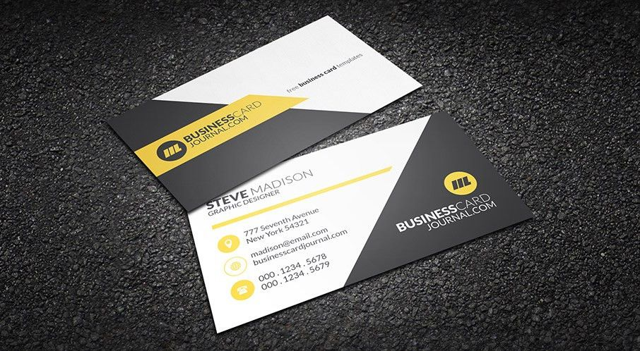 Free Clean Yellow Accent Business Card Template