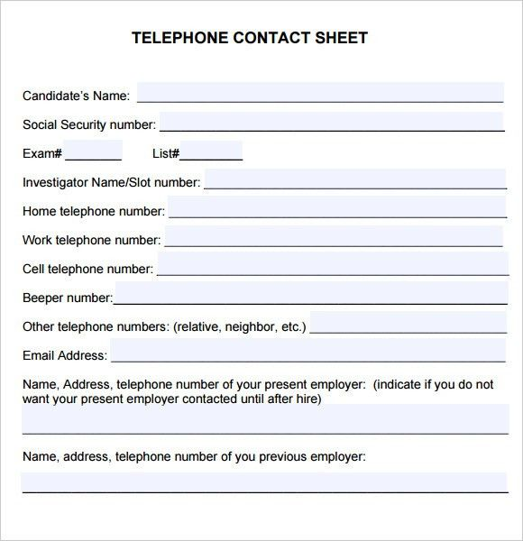 Sample Contact Sheet - 5+ Documents in PDF
