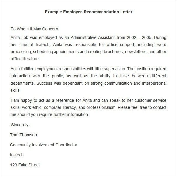 Employer Recommendation Letter For Employee | The Letter Sample
