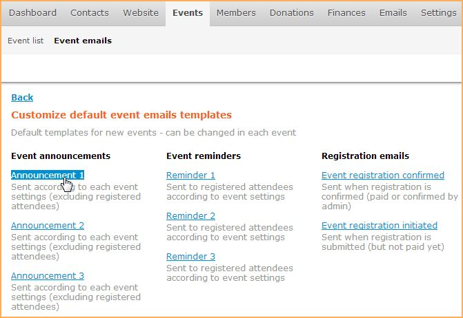 Event emails - Online help - Wild Apricot help