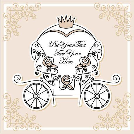 Wedding invitation with Carriage design vector 01 - Vector Card ...