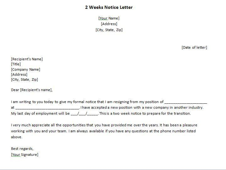 40 Two Weeks Notice Letters & Resignation Letter Templates – Free ...
