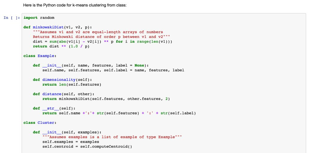 Here Is The Python Code For K-means Clustering Fro... | Chegg.com
