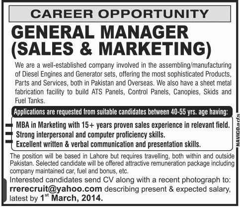 General Manager Sales & Marketing - Others Companies Jobs in ...