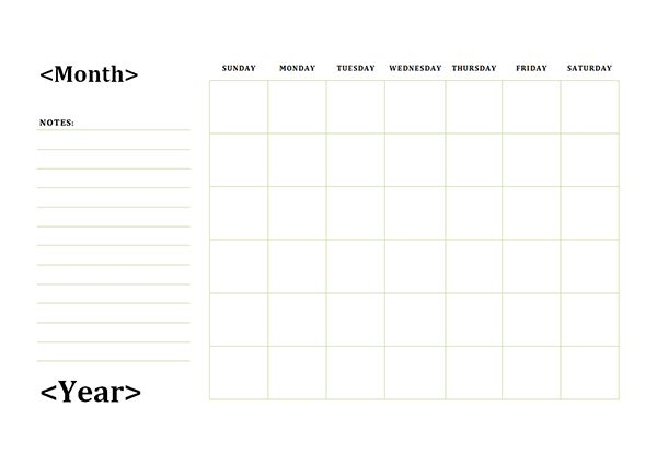 Monthly Blank Calendar with Notes Spaces - Free Printable Templates