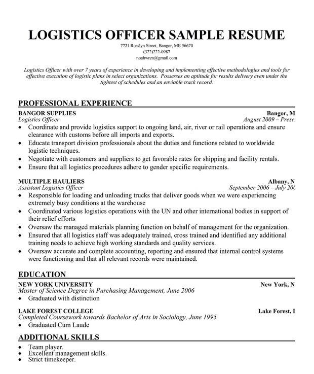 Logistics Resume. Logistics Resume Logistics-Management-Specialist ...