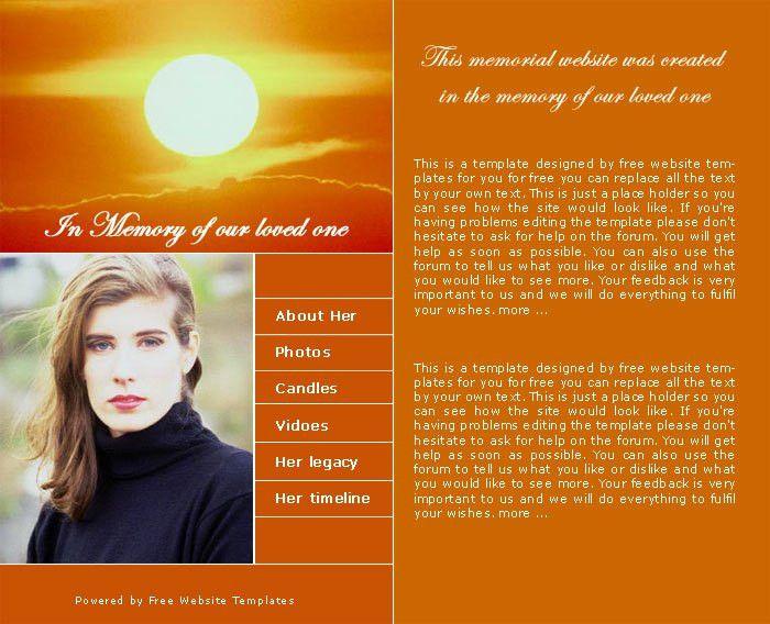 Memorial website template   Free Website Templates