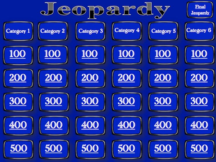 Jeopardy Template - Blank | Finals, School and Social studies