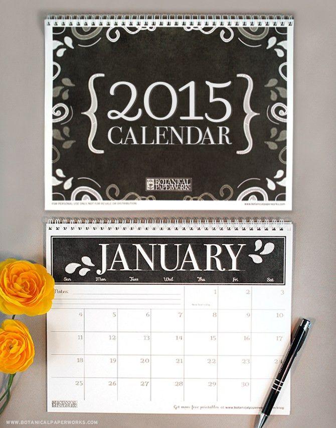 2015 free printable calendar