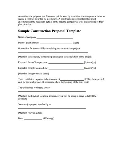 Construction Proposal Template: Free Download, Create, Fill&Print