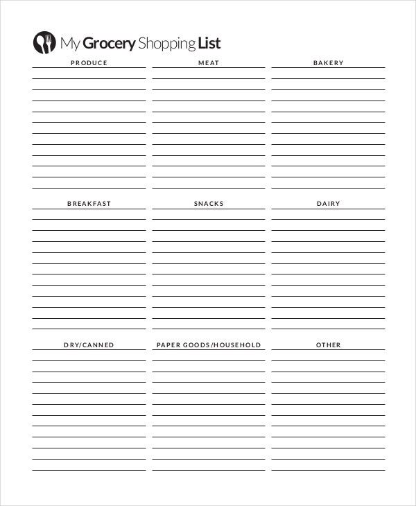 Grocery Shopping List - 10+ Free PDF, PSD Documents Download ...