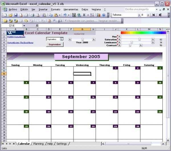 Excel Calendar Template - Download