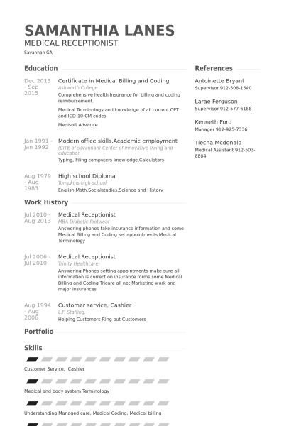 Cool Design Resume For Medical Receptionist 6 Medical Receptionist ...