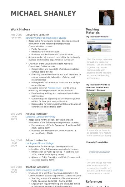 Lecturer resume samples visualcv resume samples database