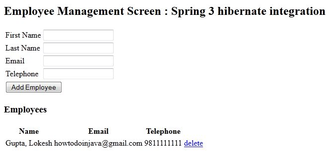 Spring 3.2.5.RELEASE and Hibernate 4 Integration Example Tutorial ...
