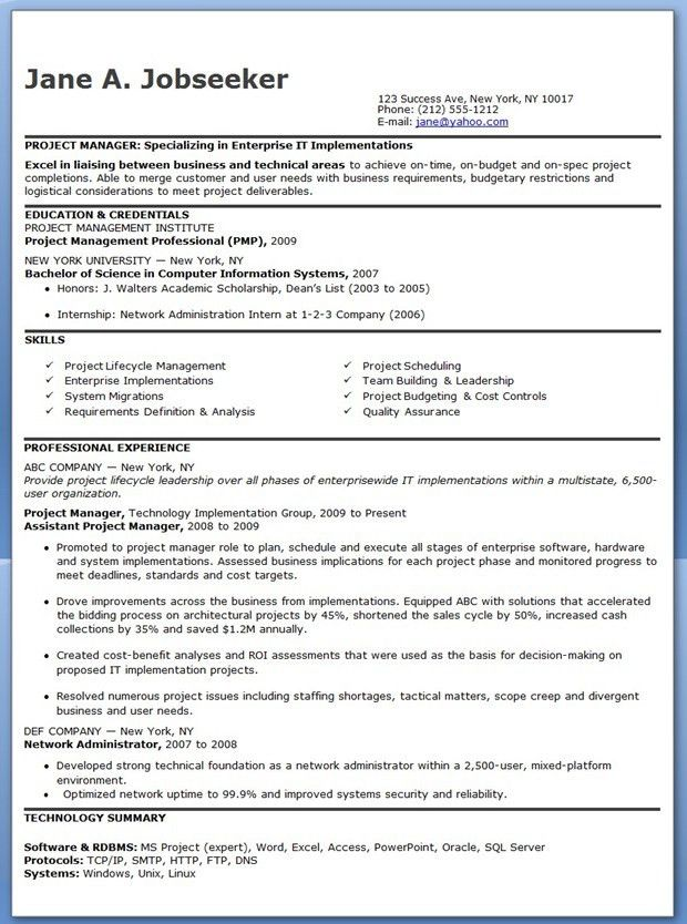 Entry Level IT Project Manager Resume | Creative Resume Design ...