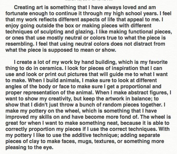 Examples of Student Artist Statement – Olson's Classroom