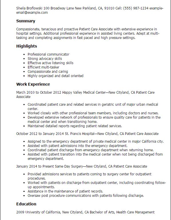 Patient Care Technician Resume - Resume CV Cover Letter