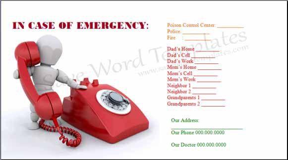 In case of Emergency Template
