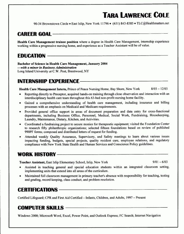 Chronological Resume Sample | Experience Resumes