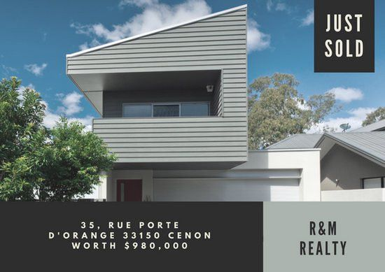 Gray Just Sold Real Estate Postcard - Templates by Canva