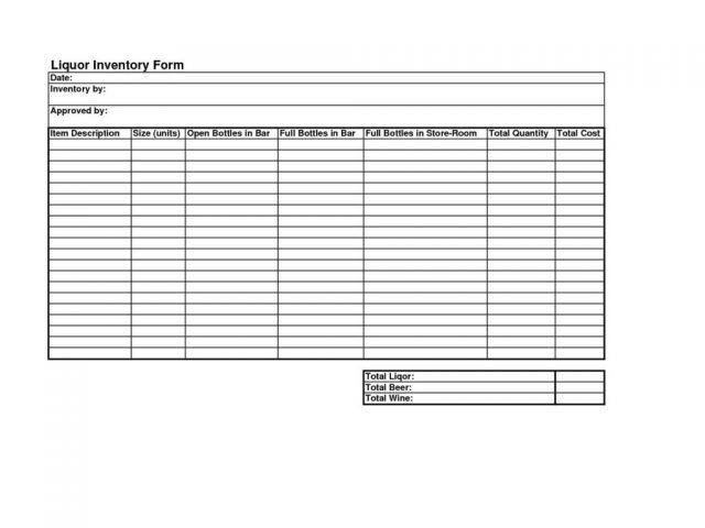Liquor Inventory Template. Bar Liquor Inventory Spreadsheet Sample ...