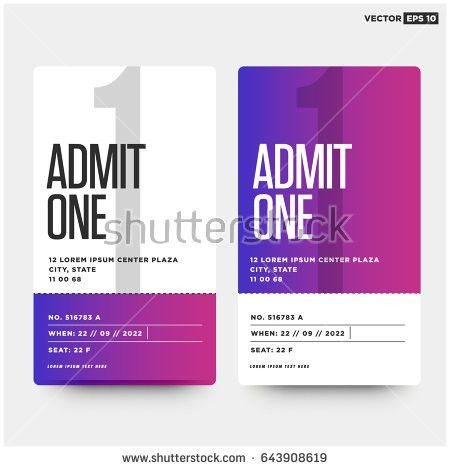 Admit One Ticket Template Number Venue Stock Vector 643908619 ...