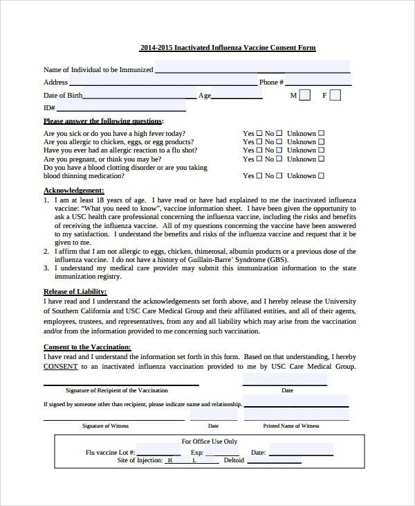 Sample Vaccine Consent Form Templates - 8+ Free Documents Download ...