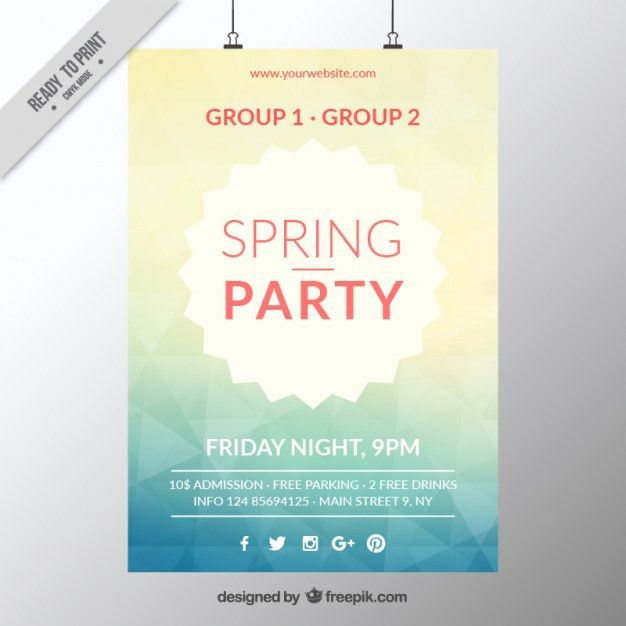 Abstract spring party poster template Vector | Free Download