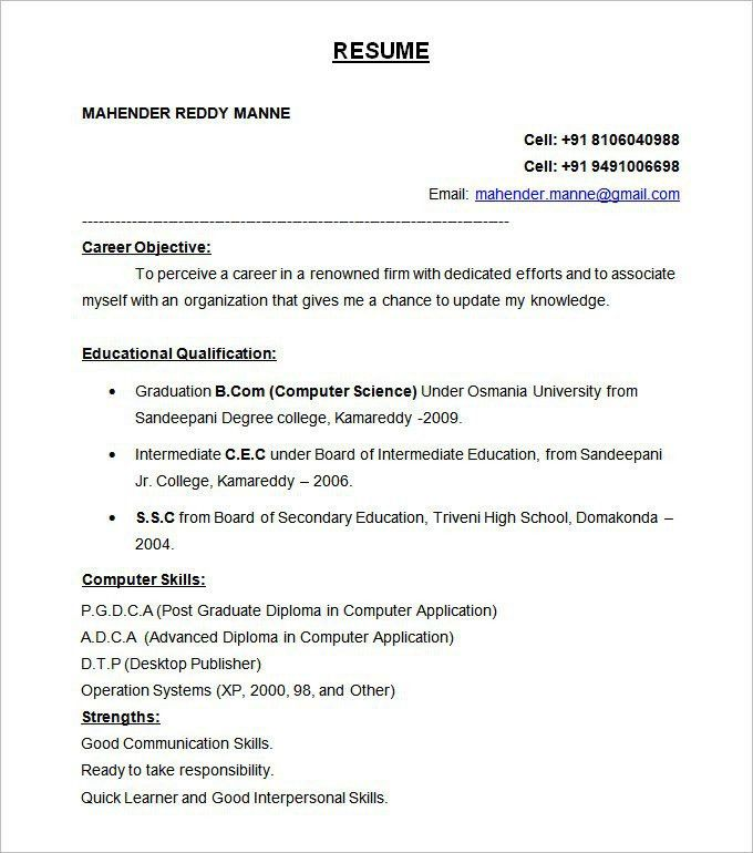 Formatting Resume - Resume Sample