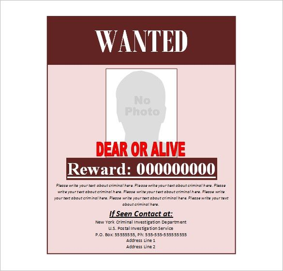 6+ Wanted Poster Templates - Word Excel PDF Templates