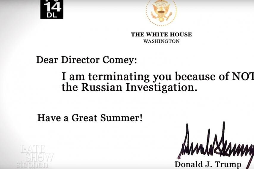 Stephen Colbert Presents 'Trump's Letters' Firing Comey