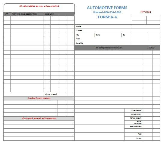 Auto Repair Invoice. Downloadable Auto Repair Invoice For Free ...