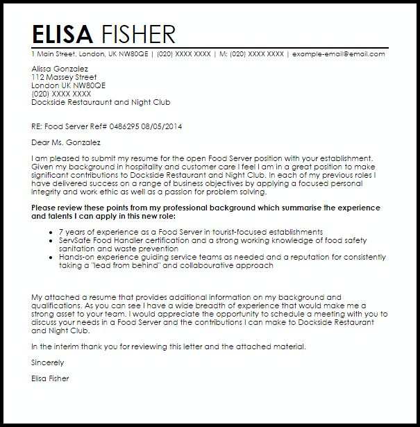 Server Cover Letter] Professional Server Cover Letter Sample