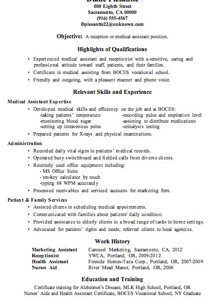 Pleasant Design Medical Resume Examples 6 Sample Receptionist Or ..