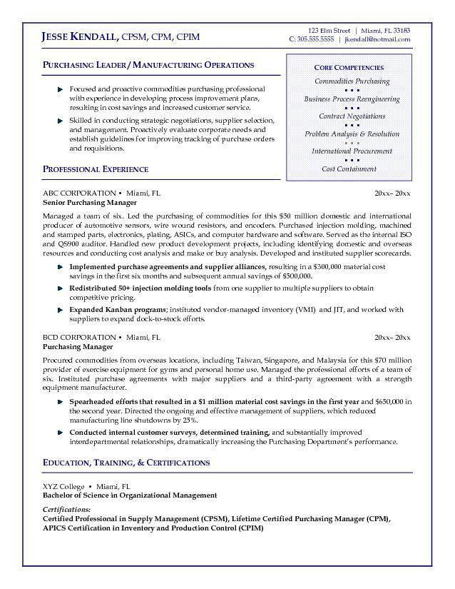 Example Purchasing Manager Resume - Free Sample
