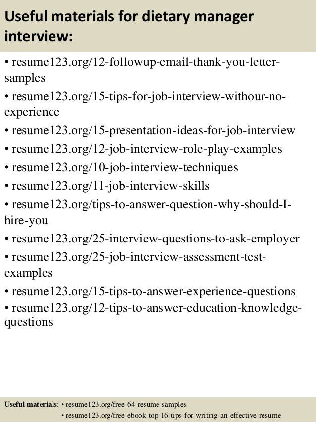 Top 8 dietary manager resume samples