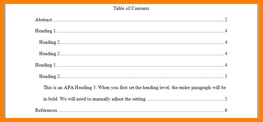7+ example table of contents apa | day care receipts