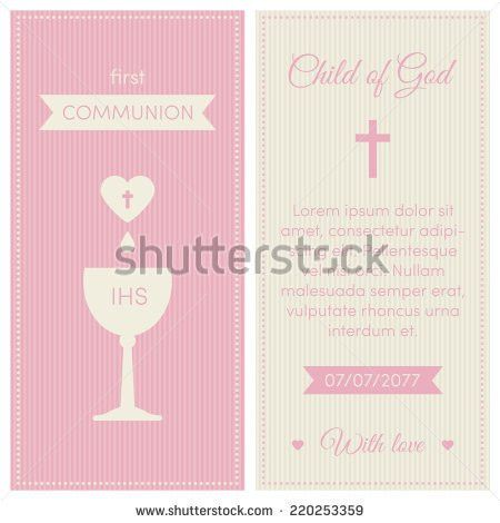 First Communion Invitation Template Pink Cream Stock Vector ...