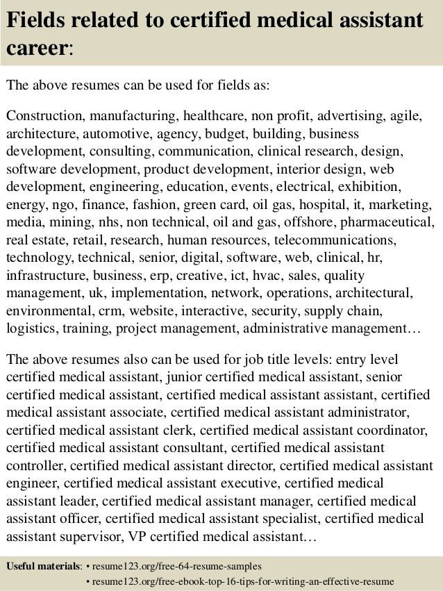 certified medical assistant resume sample certified nursing ...
