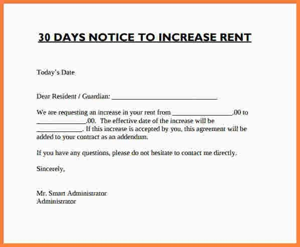 Rent Increase Letter. Canada Notice Of Rent Increase Notice Of ...