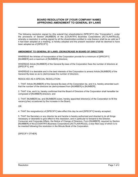 9+ company bylaws template | Company Letterhead