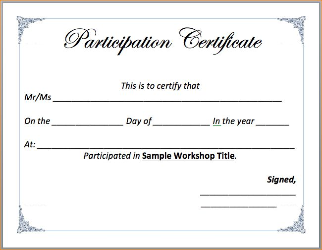 6+ word certificate template | Outline Templates