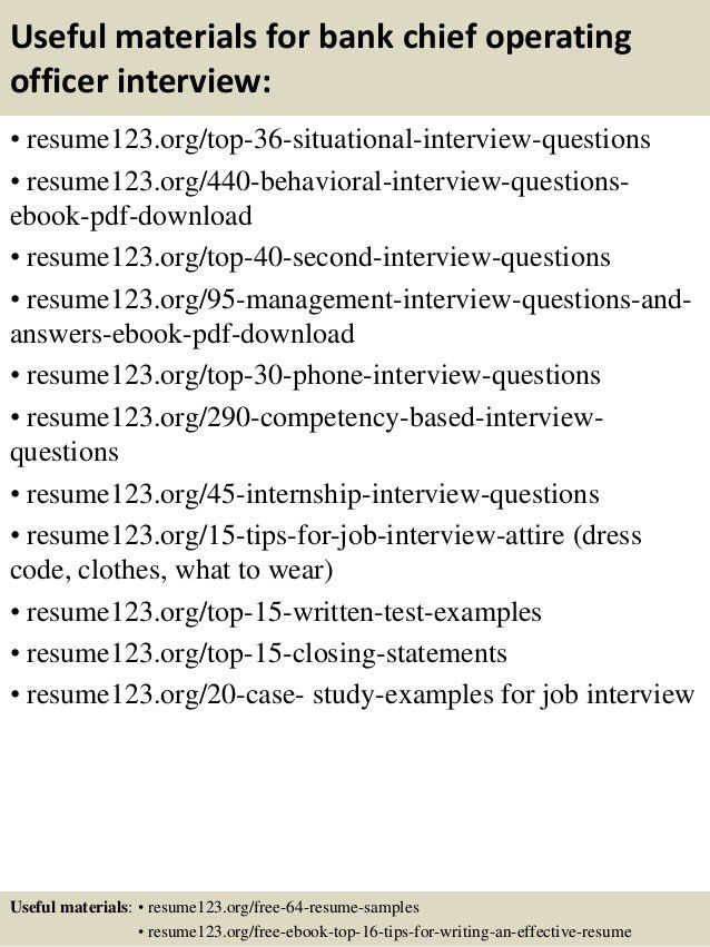 Top 8 bank chief operating officer resume samples