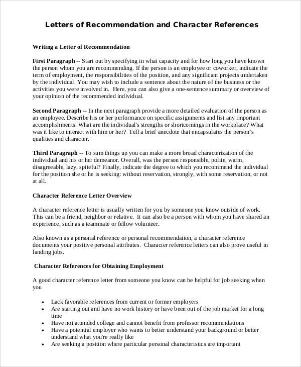 Sample Character Reference Letter - 9+ Examples in Word, PDF