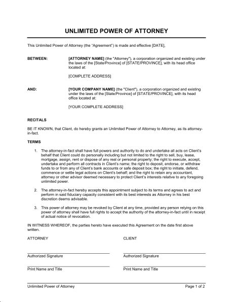 Unlimited Power of Attorney - Template & Sample Form | Biztree.com