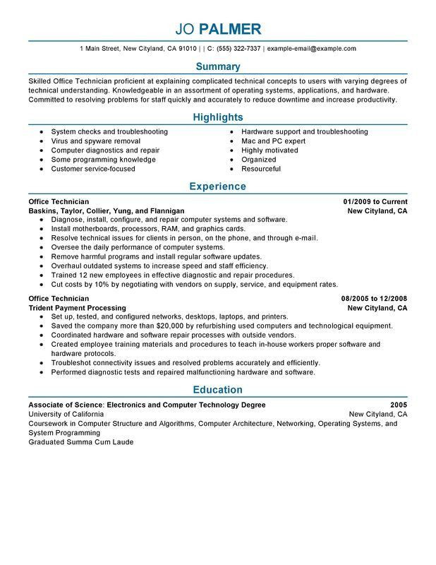 Unforgettable Office Technician Resume Examples to Stand Out ...